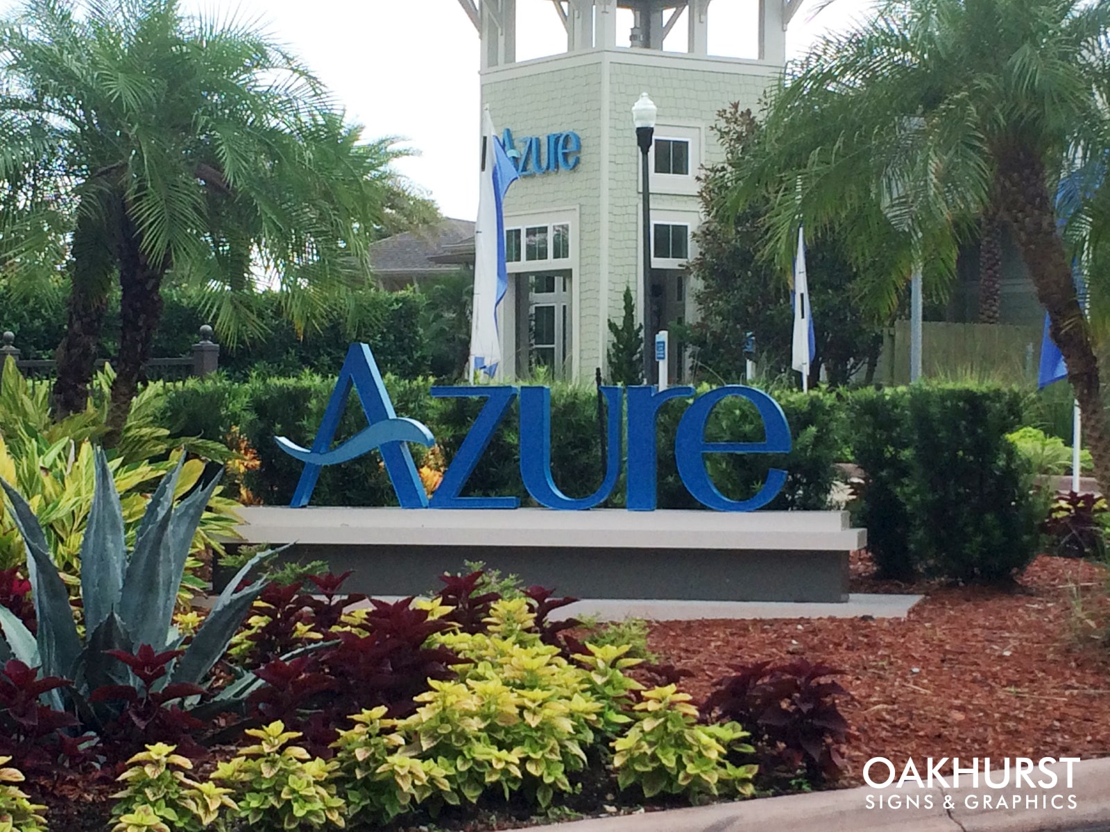 Azure PVC Channel letters free standing as monument