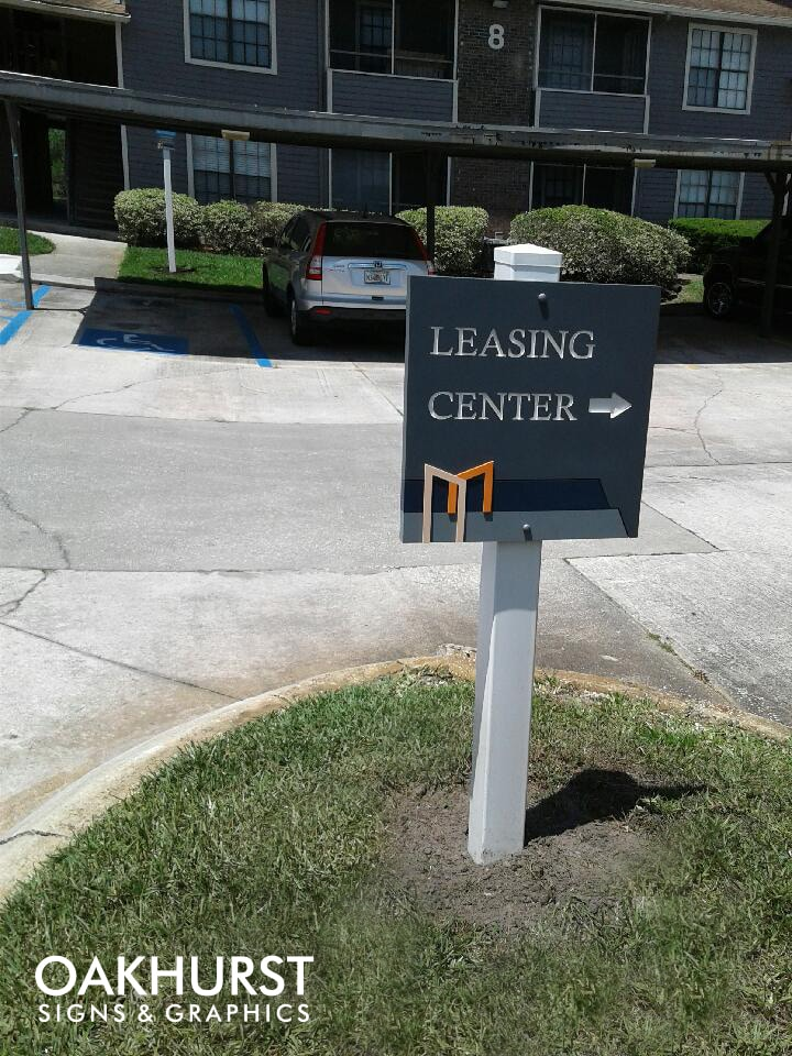 Leasing center sign at Bentley Green Multifamily Homes