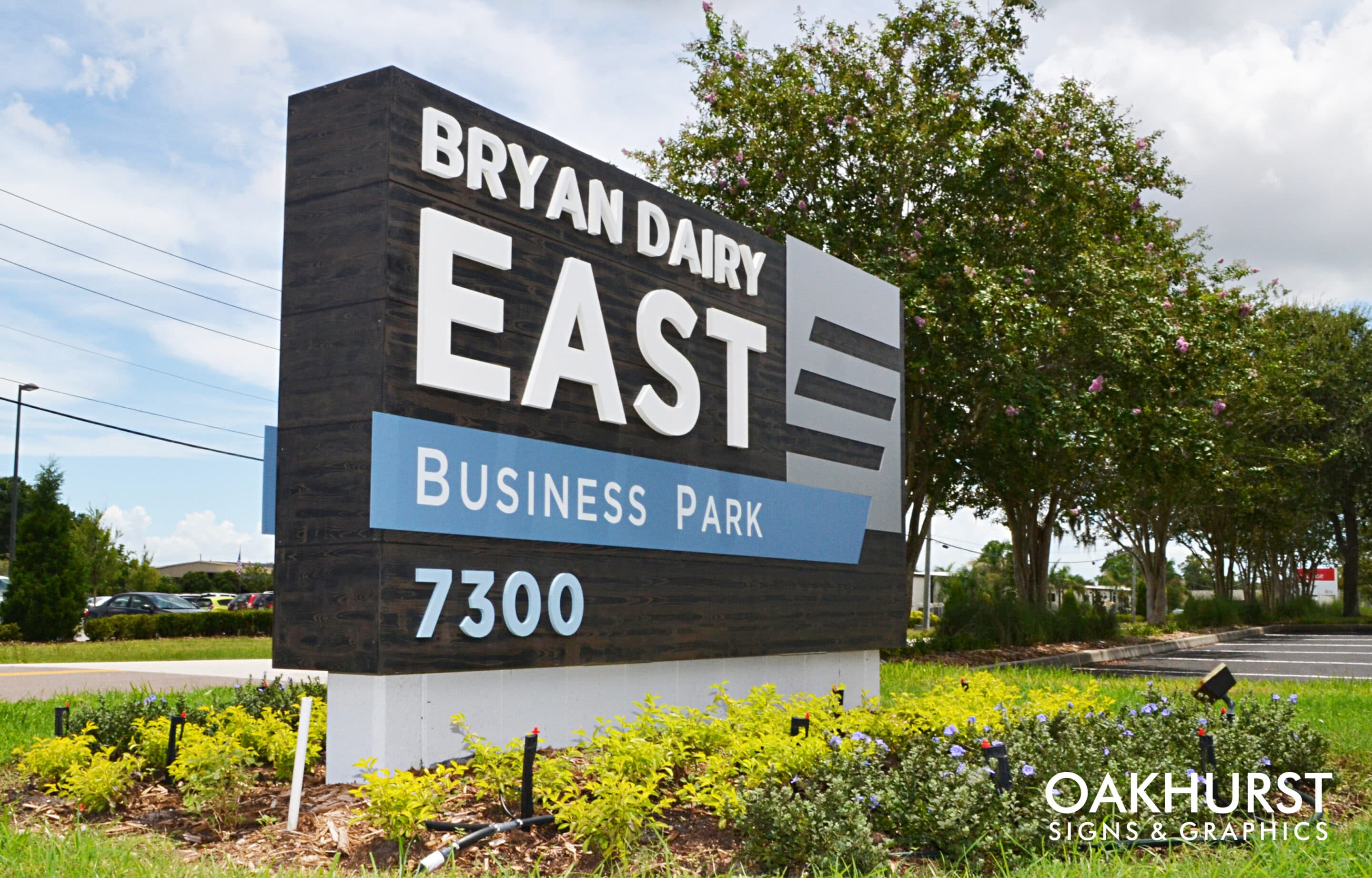 Business park monument sign from the front