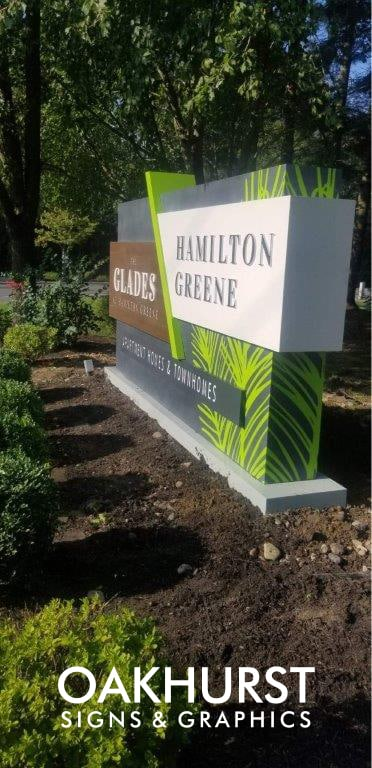 Hamilton Greene Monument Sign seen from the side
