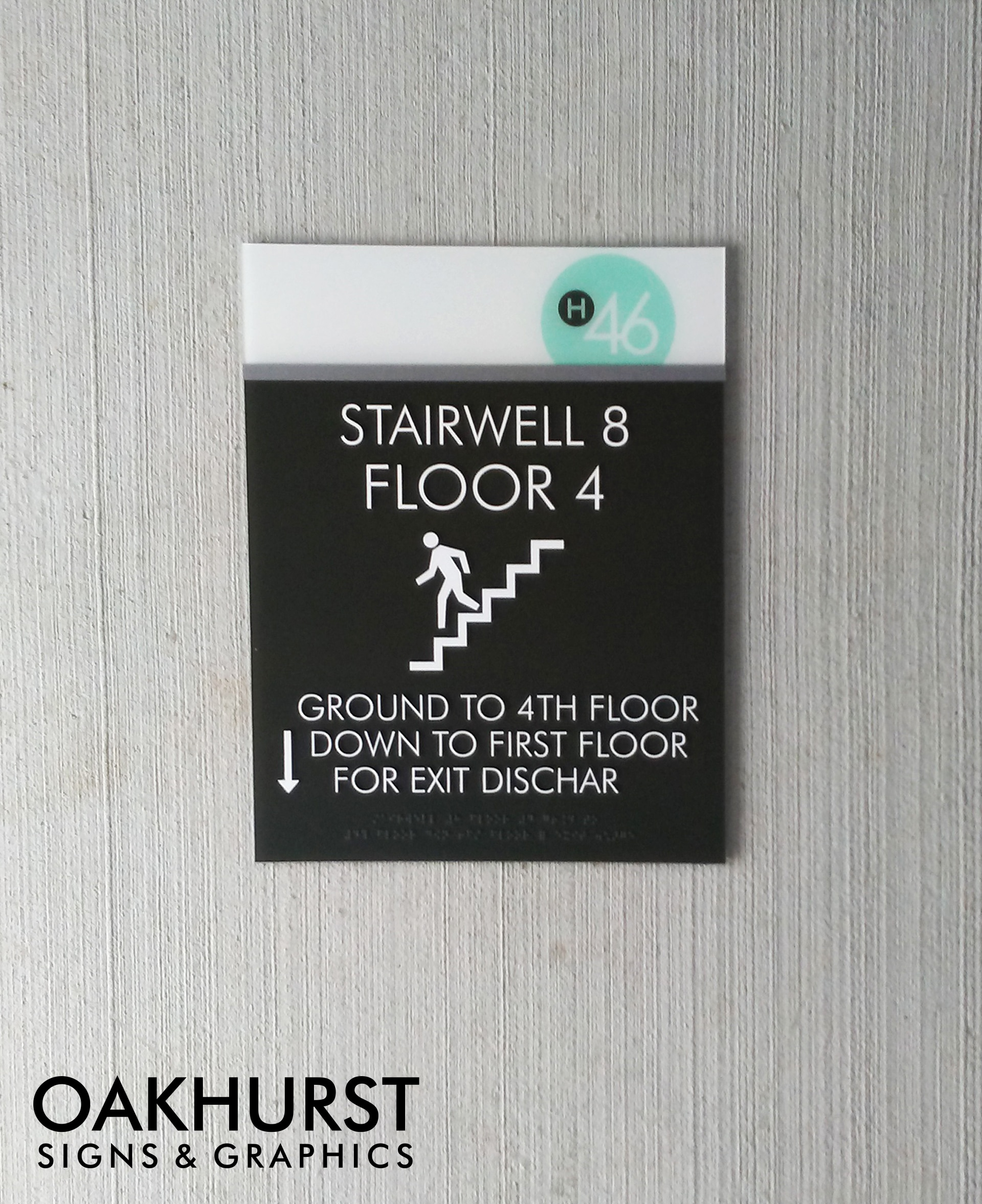 Haven 46 wayfinding signage for stairwell