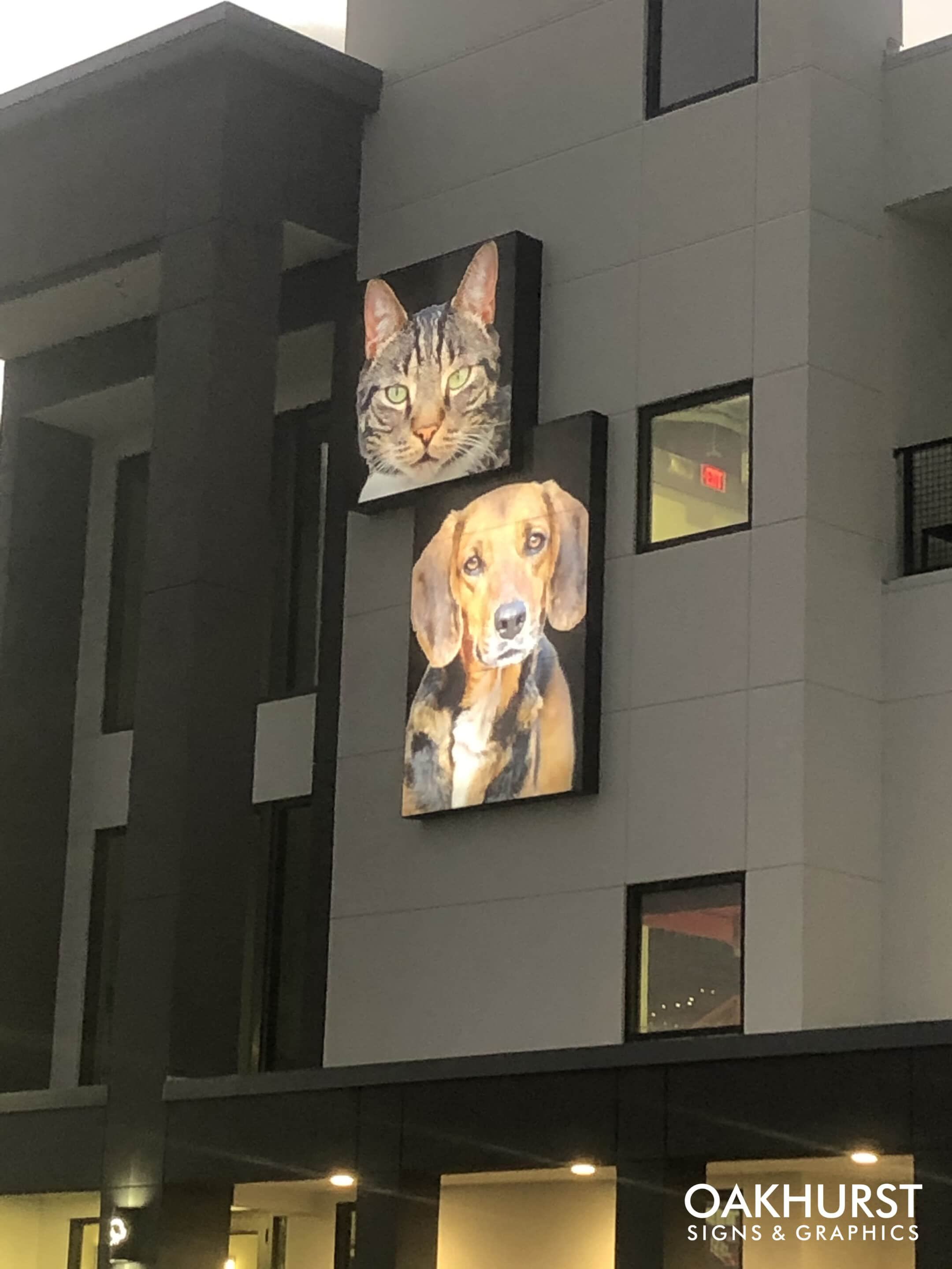 Exterior cat and dog sign on of the Humane Society of Tampa Bay
