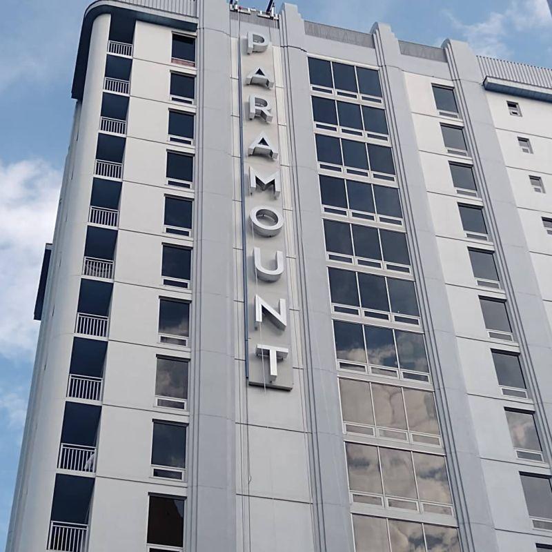 Paramount blade on building exterior