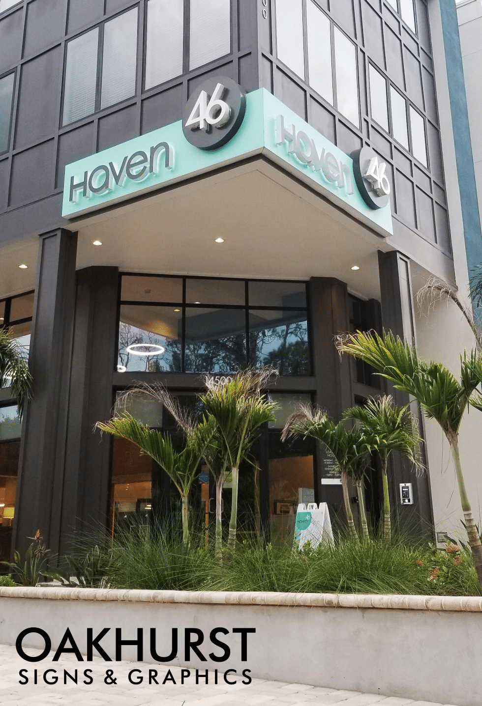 Haven 46 channel letter sign on tall building