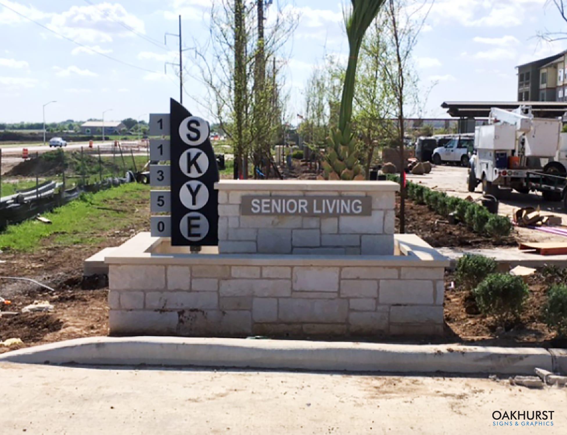 Senior living monument sign being installed