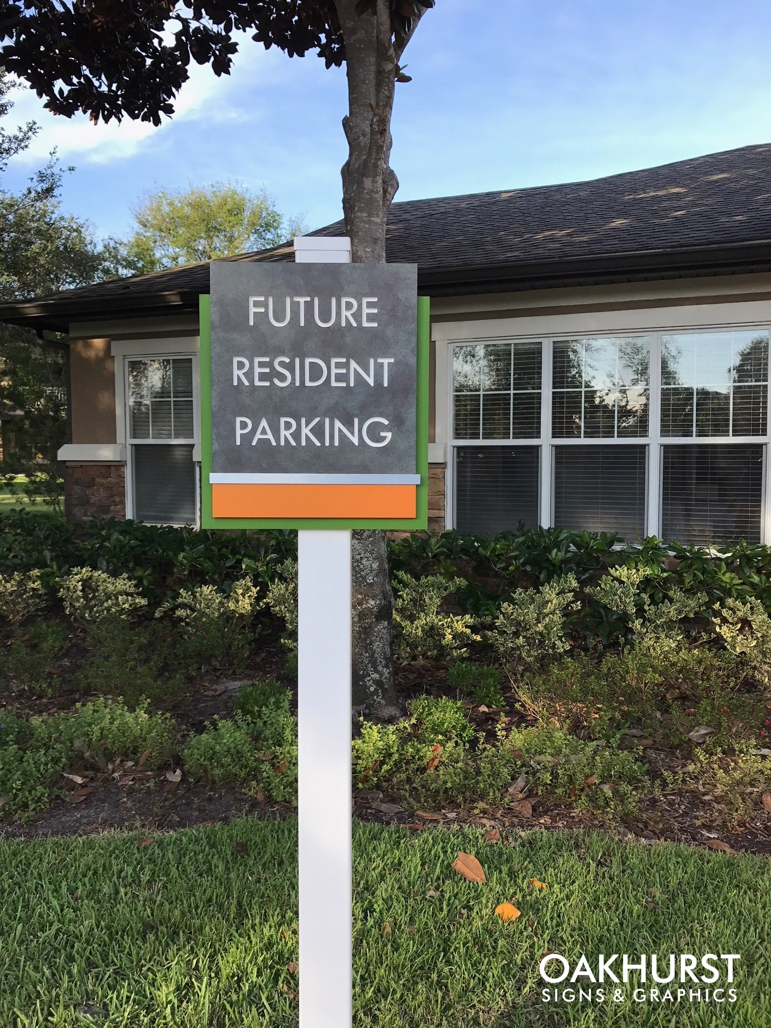"""""""Future resident parking"""" Wayfinding sign on post"""