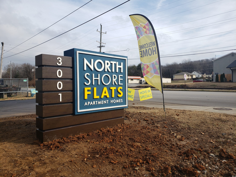 North Shore Flats Apartment Homes Monument Signage