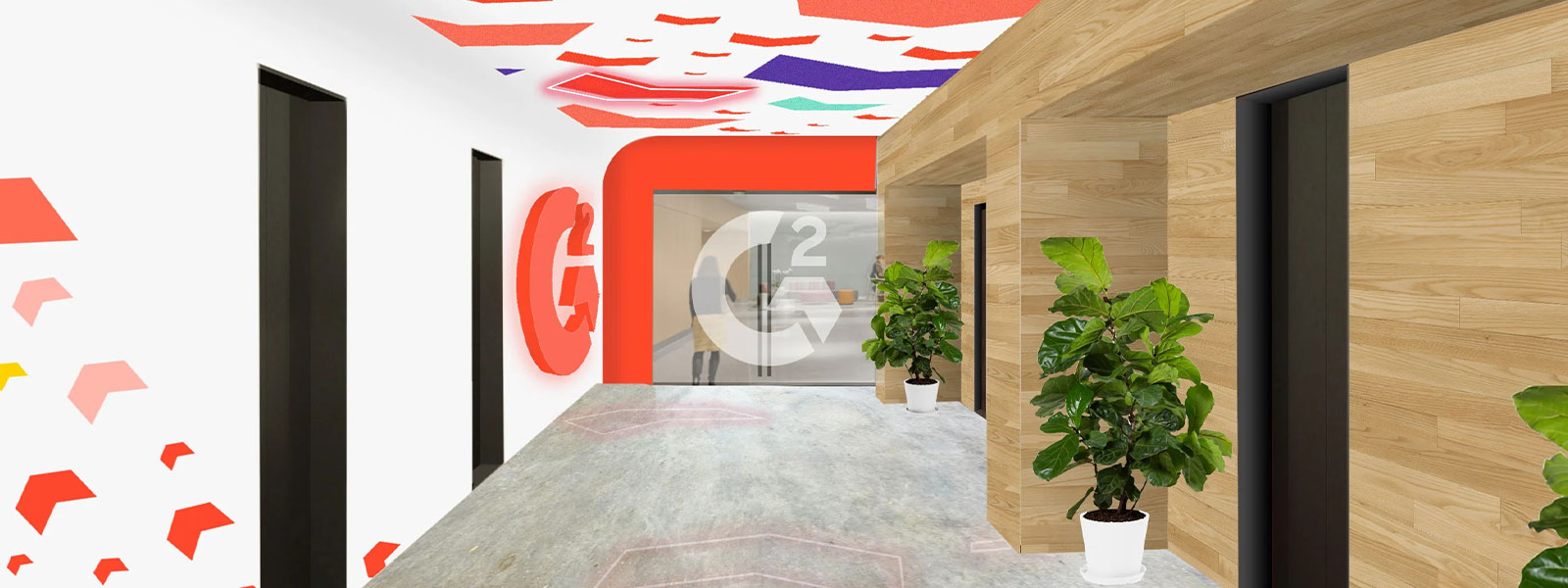 Hallway enhanced by environmental graphic design, interactive arrows on walls and ceiling